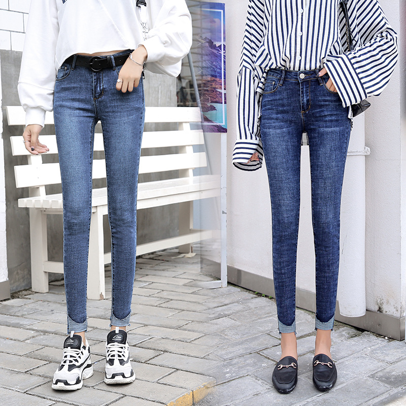 2018 Autumn Clothing New Style Quality With Holes Skinny Jeans WOMEN'S Ninth Pants Women's Elasticity Leggings Korean-style Slim