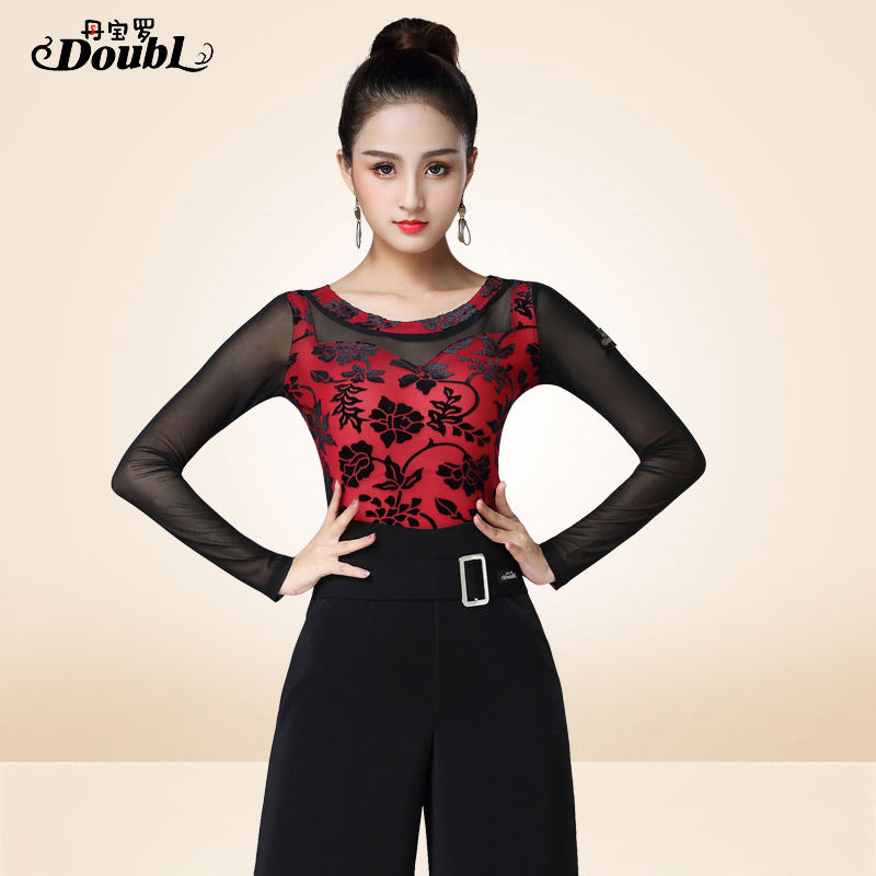 Wholesale Latin Costumes Ballroom Dance Clothes Long Sleeve Grenadine Suit For Women Adult Practice Dance Wear Top Lady Flamengo