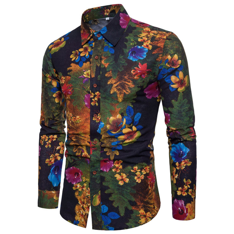 2020 Spring And Autumn Casual Flower Shirt Male Clothes Long Sleeved Beach Shirts Mens Single Breasted Summer Mens Shirts A413