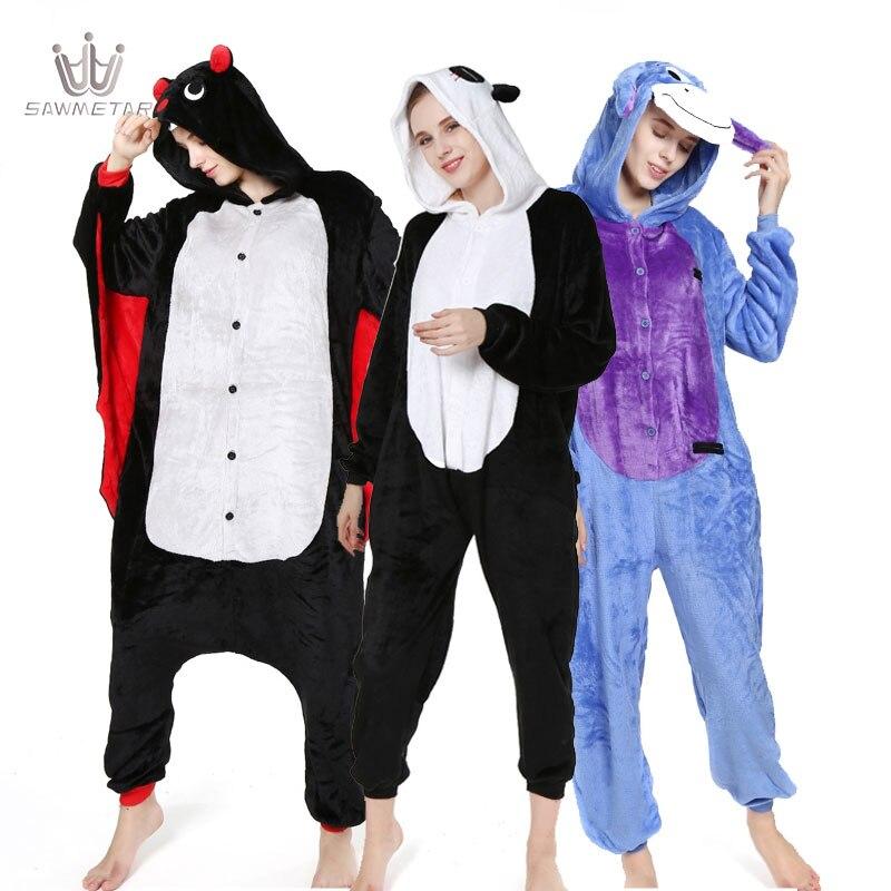 Animal Pajamas Sets Adult Cosplay Women Men Warm Flannel Sleepwear Cartoon Onesie Unisex 2019 Nightgown Overall Pijama