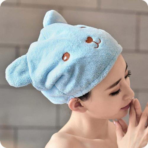 Cartoon Hair Turban Quickly Dry Hair Hat Towel Head Wrap Shower Cap Microfiber Bathing Cap Bathroom Accessories for Bath-Spa