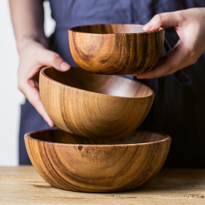 Натуральная миска из акации, миска для салата и супа, Большая маленькая Деревянная миска, миска для еды, деревянный контейнер, кухонная утварь, посуда|Чаши|   | АлиЭкспресс - Салатницы