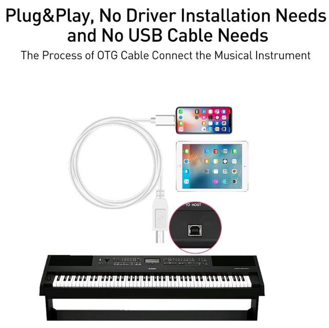 IOS14 13 cavo di ricarica per IPad MIDI USB OTG tipo B adattatore per IPhone 12 Pro Max Mini 11 X XR 8 7 connettore Audio per pianoforte elettrico
