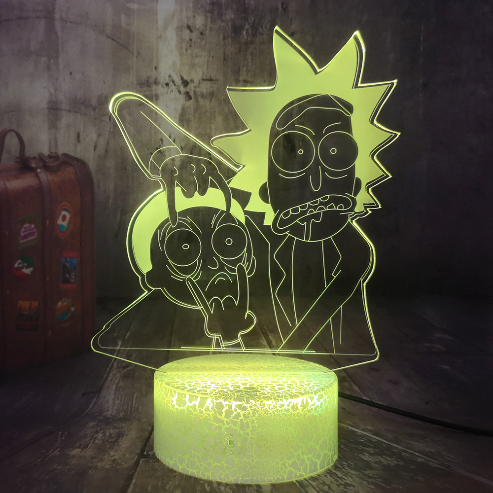 Rick And Morty Humor Scientists 3D LED Night Light Cartoon Child Nightlight Gift Table Lamp Home Decor Kid Toys Christmas Gift
