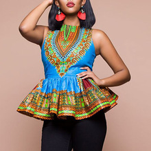 Womens Sleeveless Printed Ultra Short Dress with Lotus Leaf Edge African style Dashiki top clothes for women JQ-10007