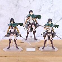 Anime ataque em titan eren mikasa ackerman levi/rivaille figma figura de ação pvc modelo brinquedo