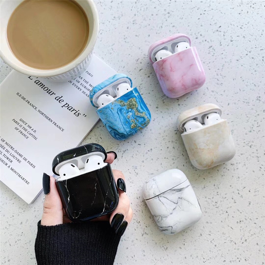 For AirPods <font><b>Case</b></font> Luxury Marble Conch Shell Earphone <font><b>Case</b></font> For Airpods 2/i10/<font><b>i11</b></font>/i12 <font><b>TWS</b></font> Cover PC Hrad Silicone Protect Fundas image