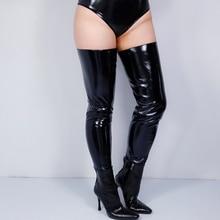 פו עור חותלות מגפי רגליים מכנסיים פתוח הבוהן סימולציה עור עור מפוצל שחור גבוהה למתוח 85cm VG19