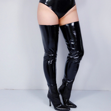 Faux skórzane legginsy buty stopy spodnie z wystającym palcem imitacja skóry PU skóra czarny wysoka rozciągliwość 85cm VG19