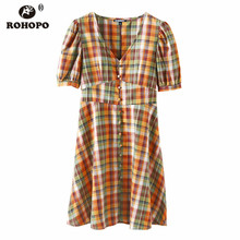 ROHOPO Puff Sleeve Wide Plaid Cotton Pleated Yellow Dress High Waist Tunic Buttons Front British Vintage Ladies Vestido #051