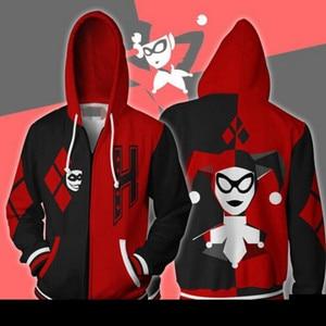 Image 4 - Chaqueta con capucha de Harley Quinn para hombre y mujer, disfraz de Cosplay, chaqueta