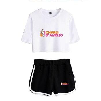 New Charli DAmelio Ice Coffee Splatter Women Two Piece Set Shorts+lovely T-shirt Sexy charli damelio merch Sport suit Girl 8
