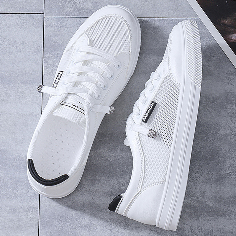 Women Casual Shoes Breathable Mesh White Shoes Summer Flats Casual Sneakers Solid Color Flat Sneakers Women's Vulcanize Shoes