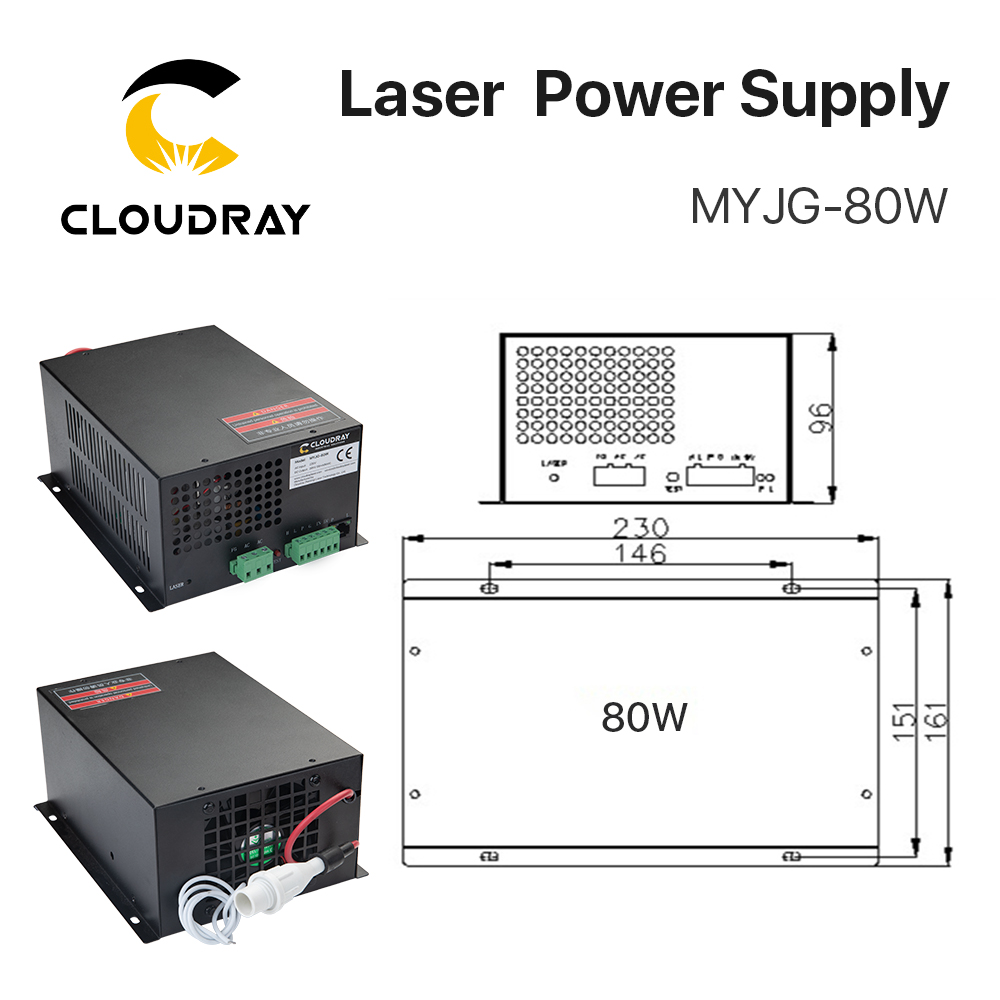 Fuente de alimentación de láser de CO2 Cloudray 80W para la - Piezas para maquinas de carpinteria - foto 2