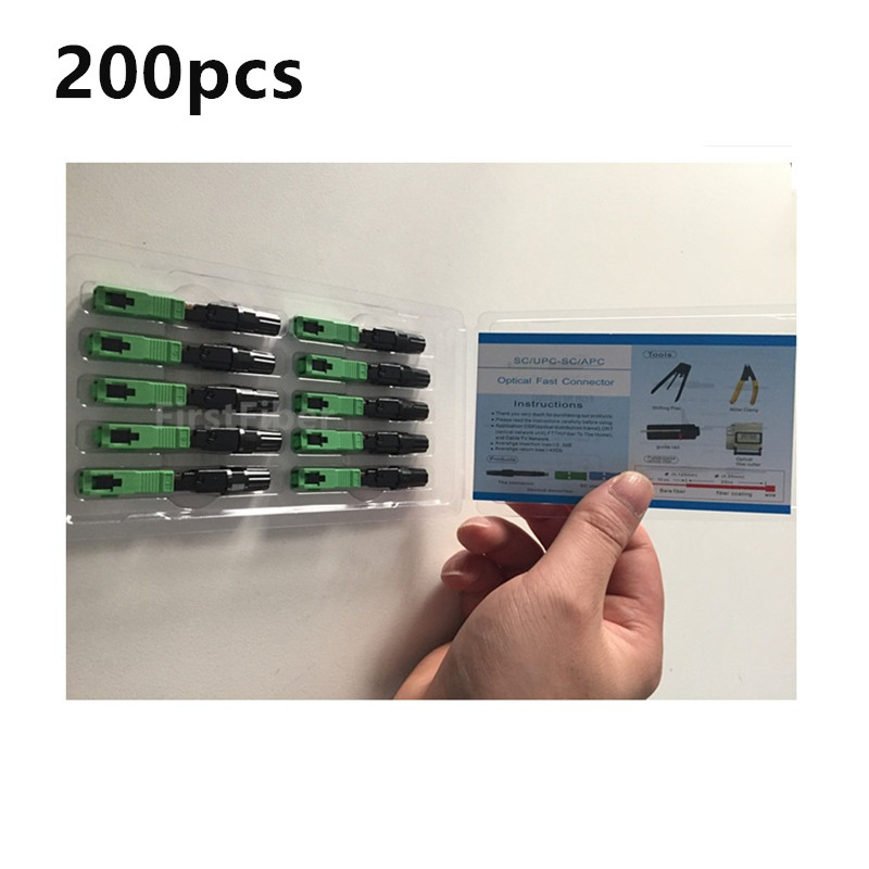 200pcs SC APC  Fast Adapter SC Connector Adapter 200 Pieces FTTH Flat  Fast Quick Tool Support 0.9mm 2.0mm 3.0mm Indoor Field