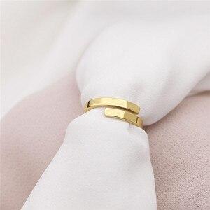 Image 5 - Cc ステンレス鋼シンプルな珍味指輪女性のための薄型アジャスタブル恋人リングナックルリング装身具卸売罰金 YJ14992