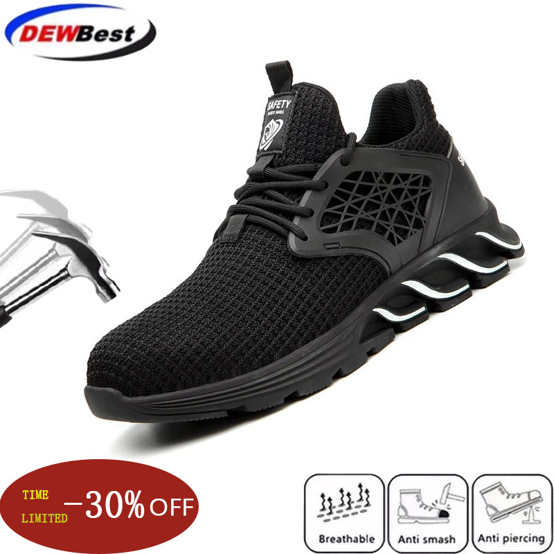 Dewbest Men's Outdoor Steel Toe Cap Protective Work Shoes Boots Anti Smashing Men Puncture Proof Safety Shoes Anti-slip