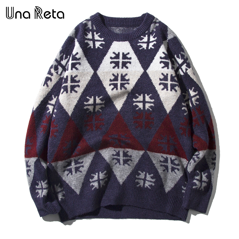 Una Reta Vintage Snowflake Men Sweater New Autumn Winter Casual Pullover Men's Sweater Pull Homme Plus Size Sweater Men