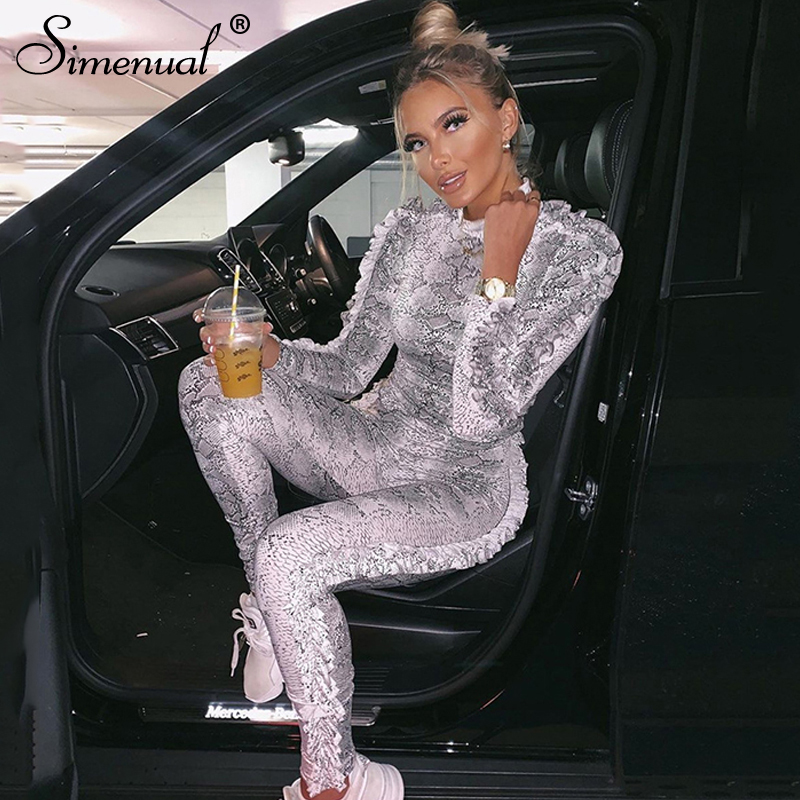 Simenual Snake Print Ruffles Fashion Matching Sets Women Skinny Bodycon Autumn Two Piece Outfits Long Sleeve Top And Pants Set