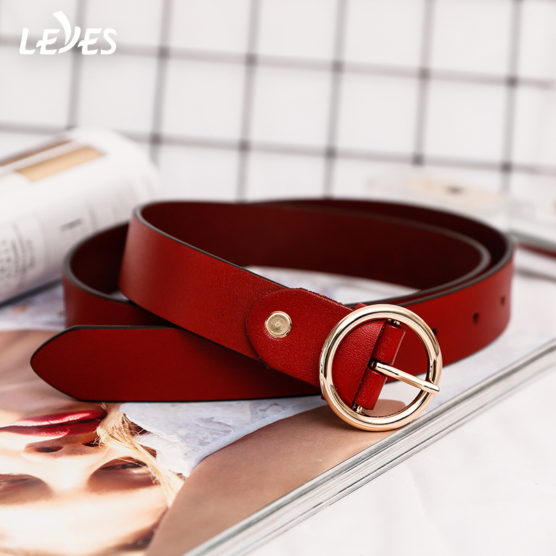 Jeans Belt Women Leather Gold Metal Buckle Belts Ladies Wild Simple Circle  Buckles Designer Ceintu Belt High Quality Brown Red