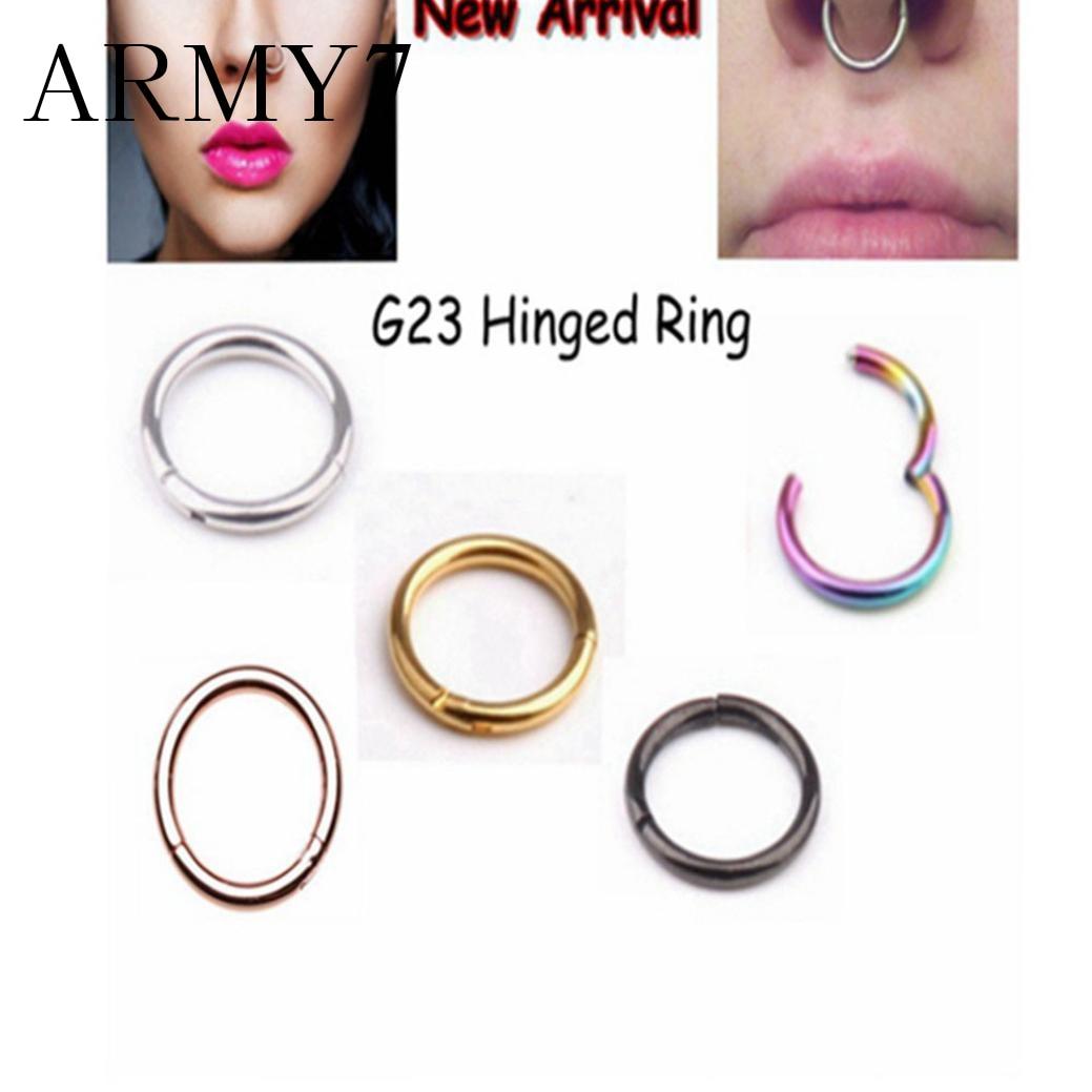 A Pair Titanium Ear Nose Lip Ring Hoop Piercing Segment Clicker SLEEPER EARRINGS