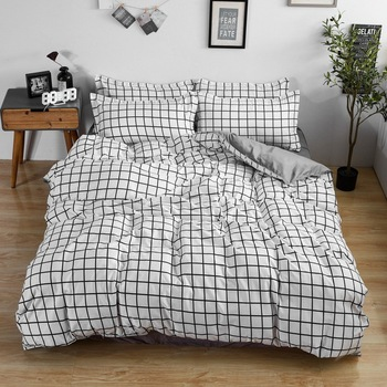 Simple Bedding Set Small Grey Lattice 35