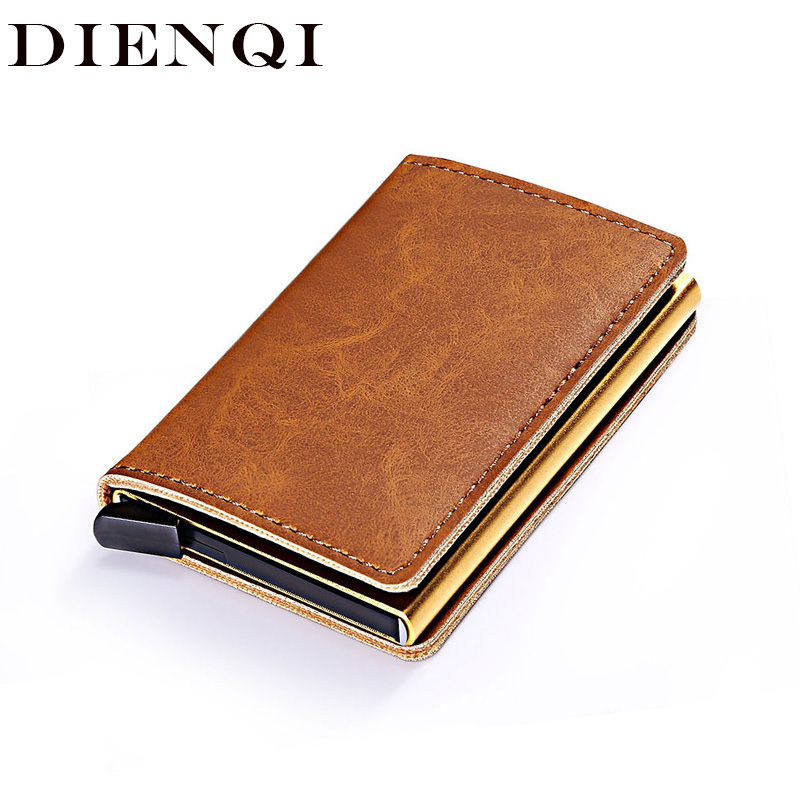 DIENQI Luxury Leather Mini Pop Up Rfid Wallet For Men Money Bag Slim Card Holder Magic Wallet Short Purse Small Male Vallet 2020