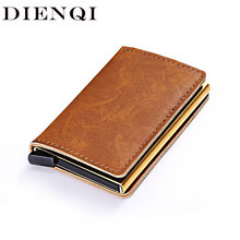 DIENQI Rfid Blocking Lederen Creditcardhouder Mannen Security Smart Portemonnee Metalen Slim Anti Bank Kaarthouder Case Bag Passeert israël(China)