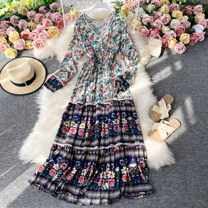 New Holiday Women Dress Casual Bohemian Printed Flowers Long Sleeves V-neck Swing Female Bali Beach Fashion Style Long Dress