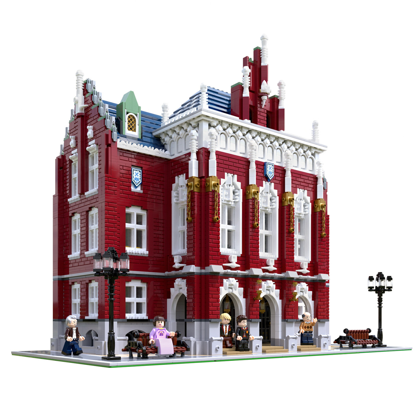Moc City Streetview Series The Brickstive Havana Cafe Bike Shop University Post Model Modular Building Blocks Bricks Toys Gifts