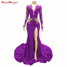 Side Split Gold Applique Mermaid Prom Dress for Black Girls Long Sleeves Zipper Beaded Evening Gown Sexy Dresses 2019