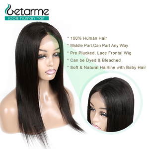 Image 5 - 4x4 Closure Wig Straight Lace Closure Wig Pre Plucked with Baby Hair Non Remy Human Hair Brazilian Hair4x4 Closure Wig For Black