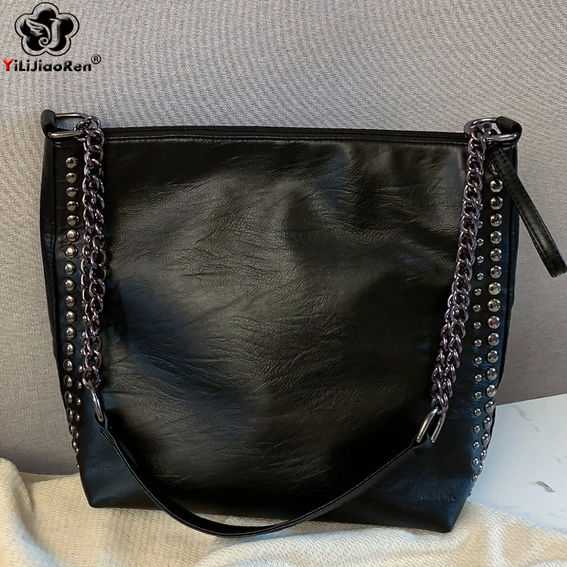 Casual Rivet Shoulder Bag Female Famous Brand Chain Crossbody Bags For Women Leather Handbags Large Capacity Tote Bag Sac A Main