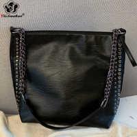 Décontracté Rivet Sac à bandoulière femme célèbre marque chaîne sacs à bandoulière pour femmes sacs à Main en cuir grande capacité Sac fourre-tout Sac à Main