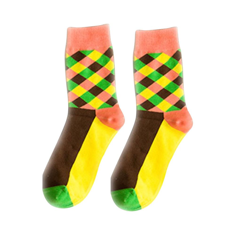 Дышащие повседневные теплые носки для женщин и девочек, удобные хлопковые носки в клетку, длинные зимние спортивные и уличные Дышащие носки - Цвет: Yellow