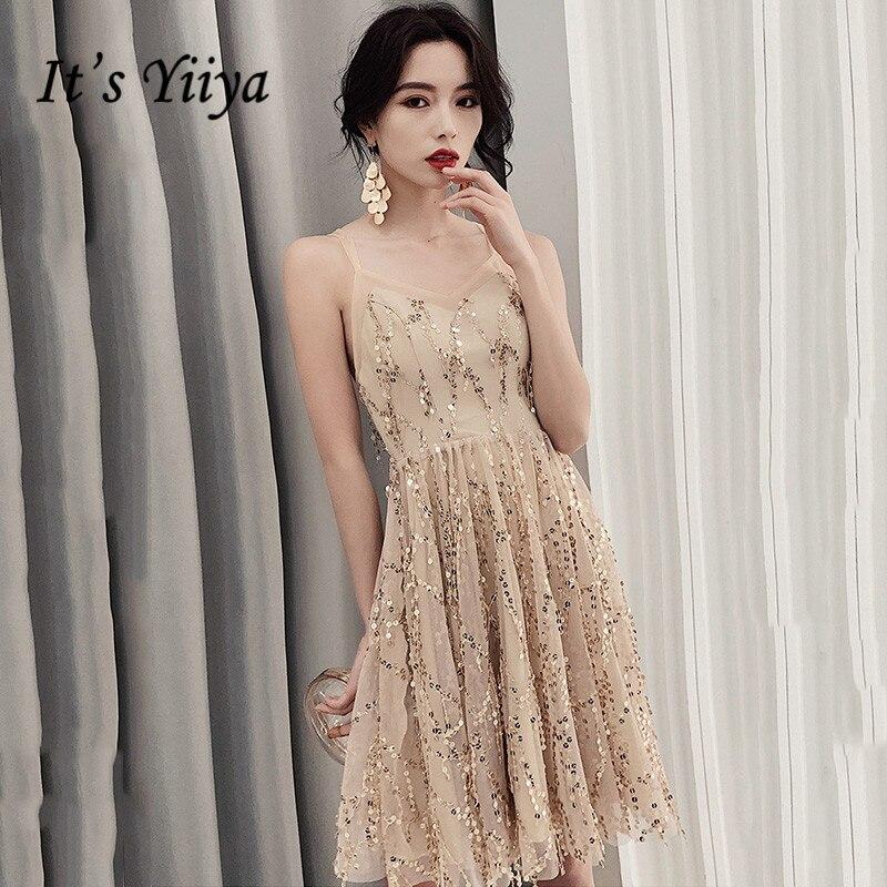It's Yiiya Sling Prom Dress V-Neck Sequined Prom Dresses 2020 K158 Knee-Length Plus Size Sleeveless Vestidos De Gala