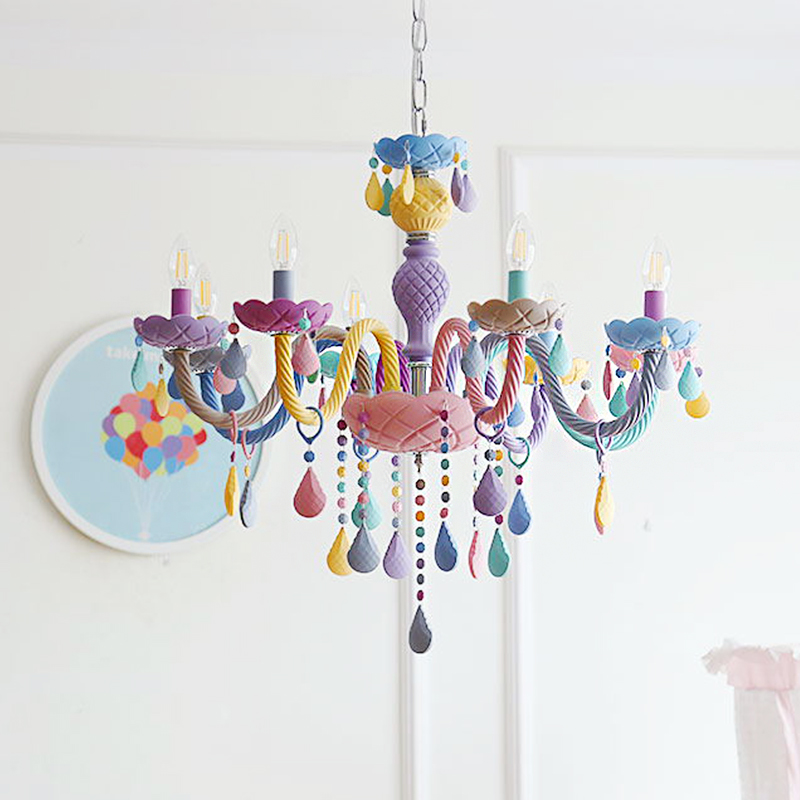 US $68.14 20% OFF|Crystal Modern Pendant Lights Macaron Color Ceiling Lamps Children