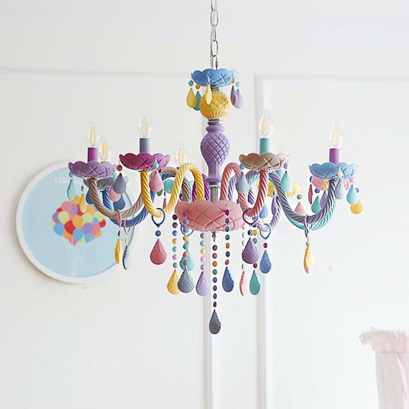 Crystal Modern Pendant Lights Macaron Color Ceiling Lamps Children's Room Kids  Creative Fantasy Luminaire Hanging Light Fixture