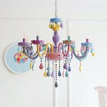 Crystal Modern Pendant Lights Macaron Color Ceiling Lamps Childrens Room Kids  Creative Fantasy Luminaire Hanging Light Fixture