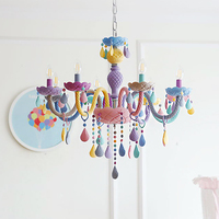 Crystal Modern Pendant Lights Macaron Color Ceiling Lamps Children's Room Kids Creative Fantasy Luminaire Hanging Light Fixture