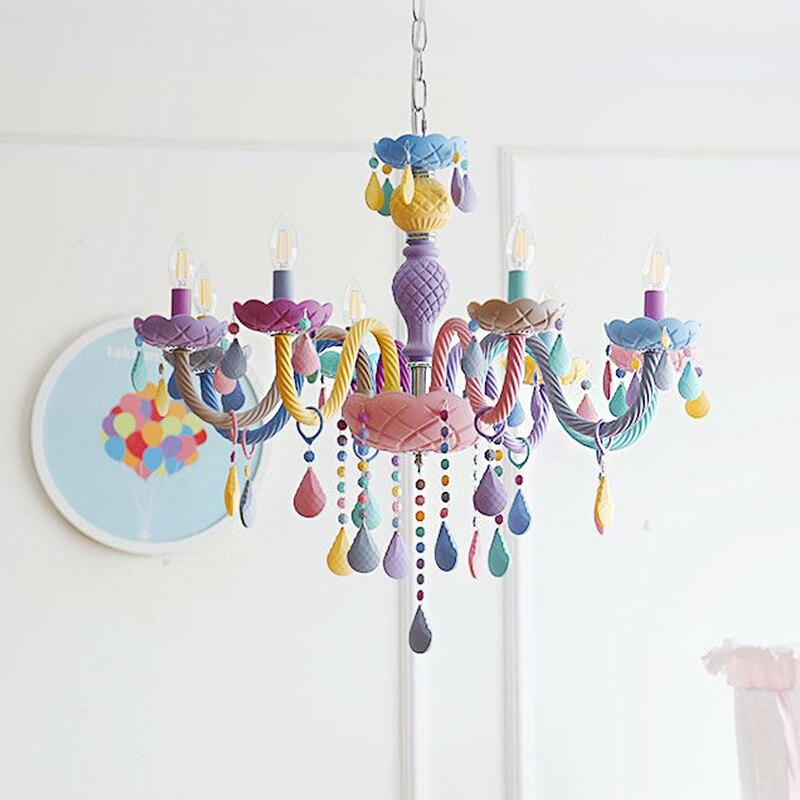Lampes suspendues modernes en cristal lampes de plafond de couleur Macaron chambre d'enfants Luminaire créatif fantaisie Luminaire suspendu