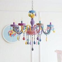 גביש מודרני תליון אורות Macaron צבע תקרת מנורות חדר ילדים ילדים Creative פנטזיה Luminaire תליית אור קבועה