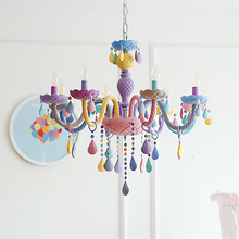 คริสตัลโมเดิร์นจี้ไฟ Macaron สีเพดานโคมไฟเด็กเด็กสร้างสรรค์แฟนตาซีโคมไฟแขวนโคมไฟ