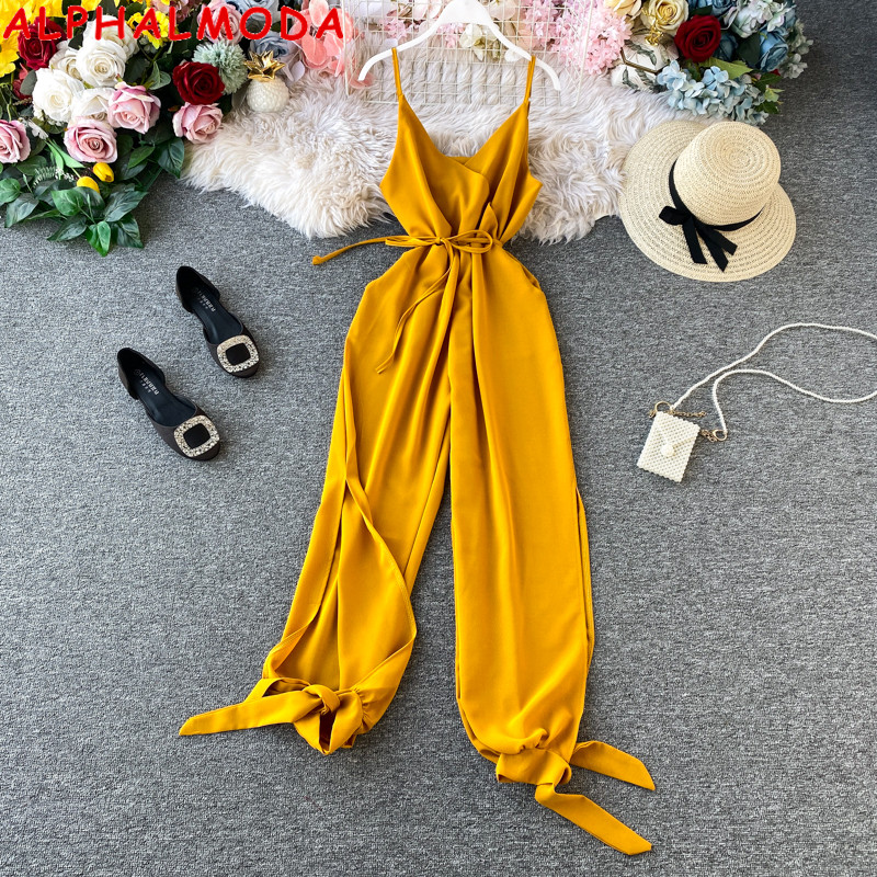 ALPHALMODA 2020 New Women Solid Sexy Jumpsuit Side Slit Binding Leg Ladies Summer Casual Sling Jumpsuit