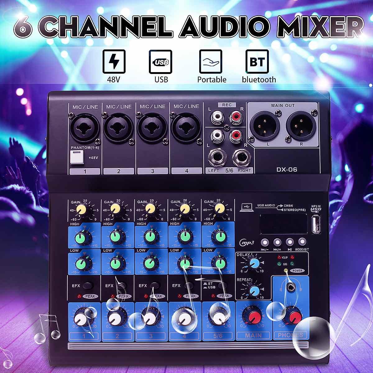 LEORY 6-Kanäle DJ Sound Mischpult Audio Mixer Karaoke Spieler Bluetooth w/USB MP3 Jack 48V verstärker Karaoke KTV Spiel