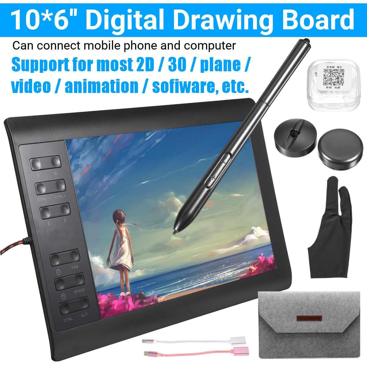 Tablette graphique 9.4x14.17 pouces pour dessin animé et jouer à OSU, avec stylet à batterie et sac de protection, 8192 niveaux de sensibilité à la pression