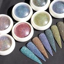Novo 8 cores/conjunto arco-íris brilho fino-ultra reflexão brilho em pó, prego reflexivo brilho em pó holográfico Dust-BDF10