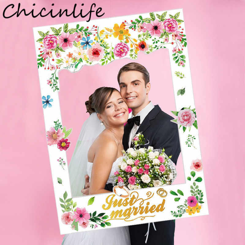 Chicinlife 1Pcs Just Married Photo Booth Frame Props Wedding Party Decoration Bridal Shower Photobooth Props Hen Party Supplies