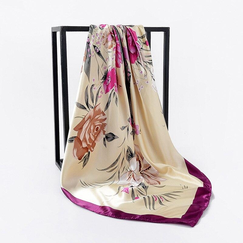 Fashion Print Kerchief Women Silk Satin Hair Scarf Square Shawls And Wraps Elegant Hijab Scarfs 90*90cm Neck Scarves For Ladies