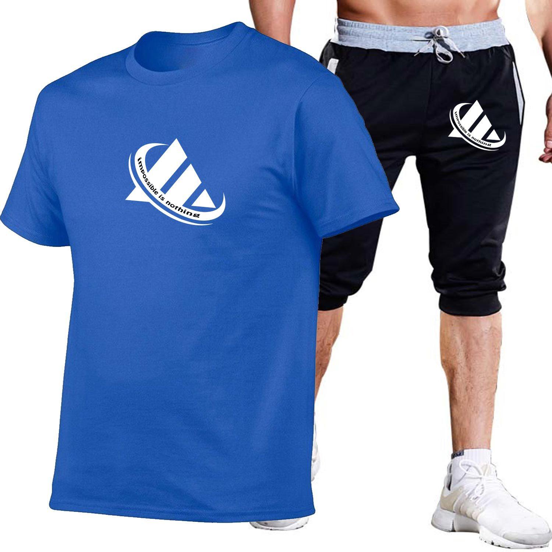 Summer Men And Women Printed Cotton Short-sleeved T-shirt + Capri Shorts Leisure Sports Suit